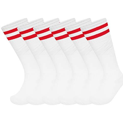 Unisex Kniestrümpfe für Fußball, Rugby, Fußball, Hockey-Socken für Herren, Damen, Jungen und Mädchen, Weiß mit roten Streifen, UK 6-11 (EU 39-45) Mens Size