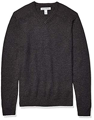 Amazon Essentials Men's Midweight V-Neck Sweater, Charcoal, Large