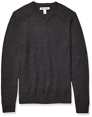 Amazon Essentials Men's Midweight V-Neck Sweater, Charcoal, X-Large