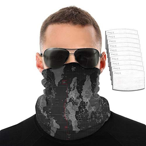 Toalla facial transpirable con diseño de mapa del mundo en blanco y negro para hombres y mujeres, deportes al aire libre, resistente al viento, variedad