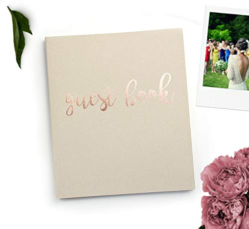 Guest Book Wedding Guest Book Alternative. 8.5' x 7' Flat-Lay Softcover, 130 pgs, Kraft Cardstock Softcover w/Rose Gold Foil. Rustic Wedding Guestbook, Photo Guest Book Instax Guest Book (Sand)
