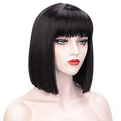 ENTRANCED STYLES Short Bob Hair Wigs with Straight Flat Bangs for Women Synthetic Chritmas Cosplay Party Daily Use Wig(Blue)