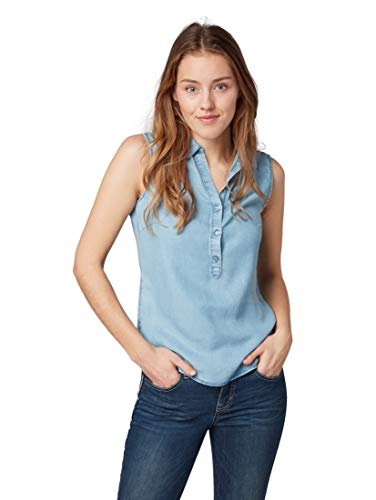 TOM TAILOR Damen Blusen, Shirts & Hemden Jeansbluse Blue Denim,46