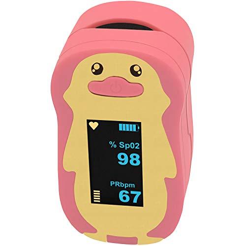 Pulox PO-220B Pulsoximeter Kinder Fingeroximeter Sauerstoffsättigung Messgerät SpO2 mit Alarmfunktion (Pink)