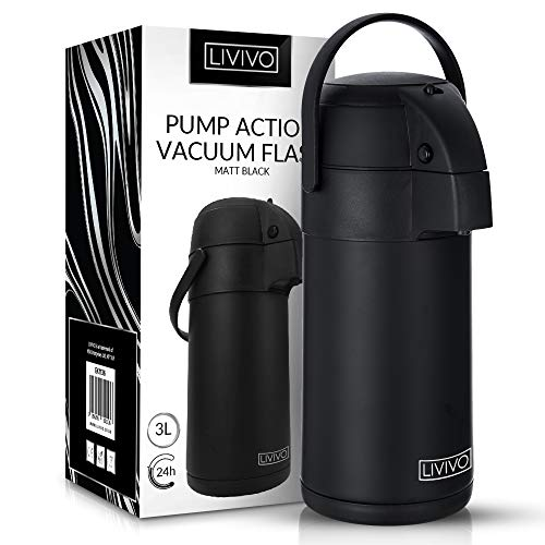 LIVIVO Pump Action Vacuum Air Pot Flask in Matt Black Finish for Hot or Cold Drinks and Soups etc (Black, 3L)