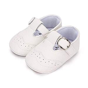 Zapatillas Antideslizantes para bebé niño Zapato Primeros Pasos de Cuero Suave de PU para bebé Blanco 12-18 meses