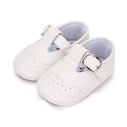 LACOFIA Zapatillas Antideslizantes para bebé niño Zapato Primeros Pasos de Cuero Suave de PU para bebé Blanco 6-12 Meses