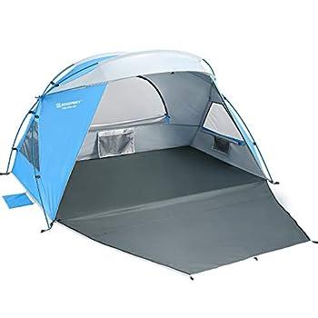 Bessport Tente de Plage pour 1 à 2 Personnes, abri de Plage, Petit Pack, Ultra-léger avec Base Extensible, Protection UPF 50+ Tente de Plage de Protection Solaire pour Famille, Jardin (L-bleu & blanc)