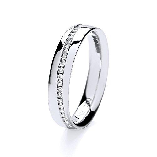 18ct White Gold 1mm Slight Court Comfort Half Eternity Diamond Wedding Band/Ring Brilliant Cut 0.13 Carat HI - SI WJS1502518KW