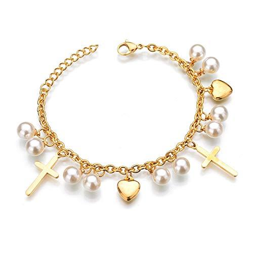 Pulsera con dijes de corazón de Perlas para Mujer, Pulseras de Cadena de eslabones de Acero Inoxidable de Color Dorado, Moda