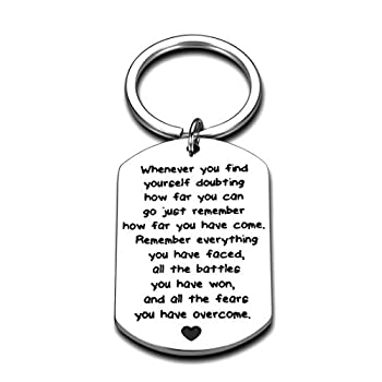 Recovery Gifts for Women Men Motivational Keychain from Depression Surgery Suicide Addiction Alcoholics Sobriety Presents for Cancer Survivor Warrior Fighter Graduation Birthday Competition Jewelry