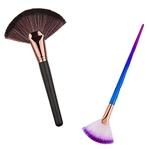 HUIFEN Large Fan Makeup Brush, Portable Slim Professional Apply Perfect For Highlight And Bronzer Cheekbones Brush, 2pcs Together Soft Cosmetic Make Up Tool Foundation Powder Contour Brush (Fan brush)