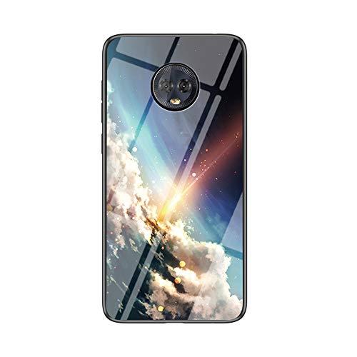 BRAND SET Carcasa para Motorola Moto G6 Plus Funda Protectora Transparente con Patrón Cielo Estrellado Brillante Cubierta Trasera de Vidrio Templado + Borde de Silicona Case Antigolpes-CCXK