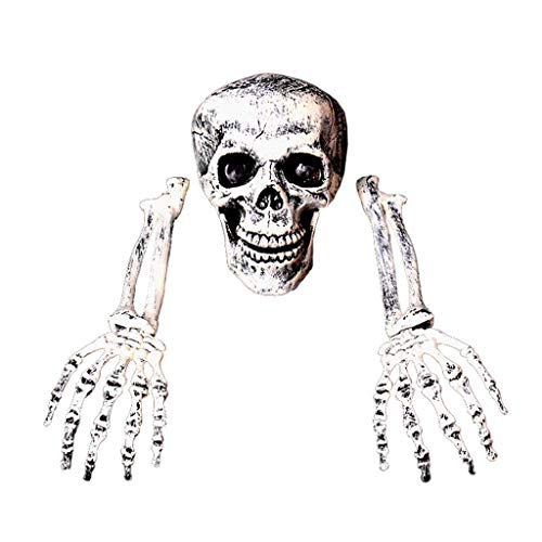 catyrre Halloween Scary Horror Skeleton Skull Kopf Ornamente Dekoration, Lifelike Knochen für Haunted House Outdoor Indoor