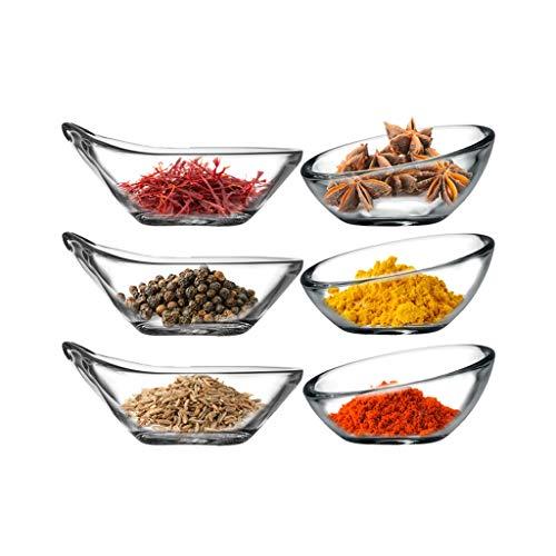plato de condimento Mini Cuencos de vidrio for preparación de la cocina, postres, salsas y platos dulces o tuerca cuencos, Conjunto de 6, Claro apilable de cristal preparación de la cocina Plato de ap