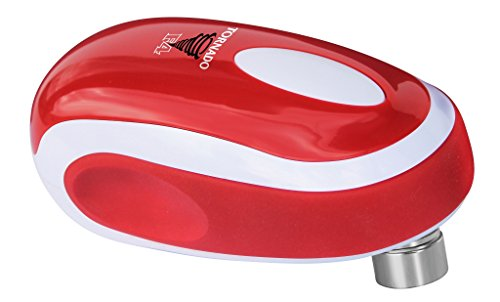 Tornado F4 Can Opener - New and Improved - Safest, fastest, Easiest Hands-Free Can Opener (Red)