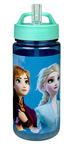 Scooli FRUW9913 Aero Trinkflasche aus Kunststoff mit integriertem Strohhalm und Trinkstutzen, Disney Frozen II, BPA und Phthalat frei, ca. 500 ml