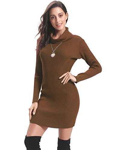 Abollria Vestido a Punto Cuello Alto Suéter Elegante para Mujer Jerséy Clásico para Otoño Invierno Cuello Alto, Marrón, XS