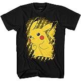 Pokemon Men's Pokémon Pikachu Electric Static Power T-Shirt, Black, Large