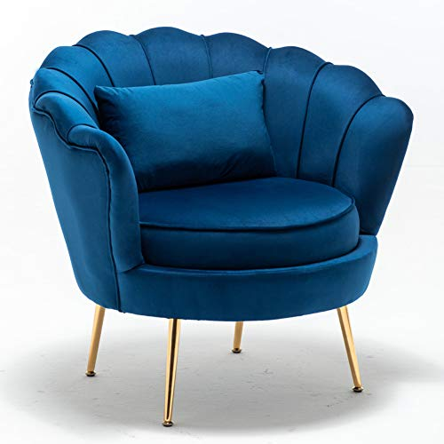 LZWZW Single Living Room Velvet Tub Armchairs with Small Pillow Metal Leg Armrests Sofa Chair Lounge Accent Chairs Arm Chairs (Blue)