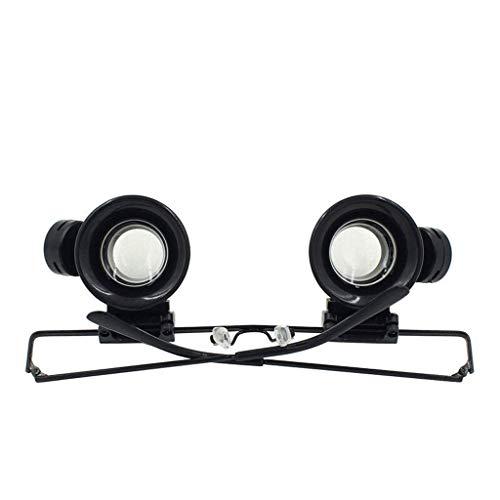 Tragbare Doppellinsen-Lupe, freihändig, am Kopf montiert, mit Heller LED-Lupe zum Lesen, Einrichten