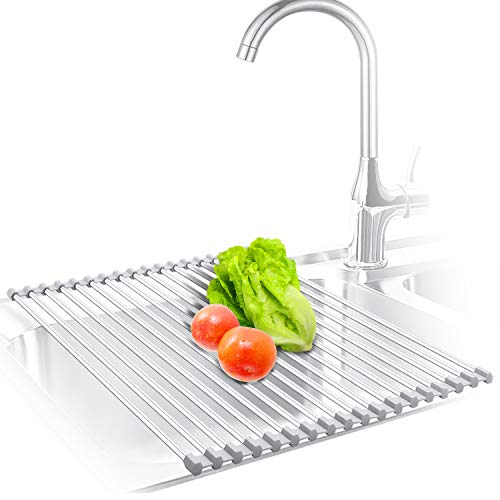 KIBEE Dish Drying Rack Stainless Steel Roll Up Over The Sink Drainer Gadget Tool for Many Kitchen TaskGrayLarge
