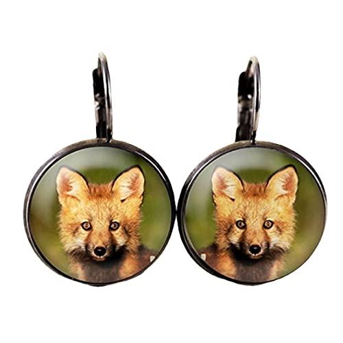 Pendientes Baby Fox - Joyería de vida silvestre para bebés, joyería de fotos de zorro rojo, joyería de bosque de zorro, pendientes de animales de bebé, kit de zorro
