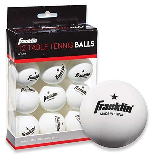 Franklin Sports Table Tennis Balls - White Table Tennis Balls - Official 40mm Size + Weight - One Star Professional Balls - 12 Pack Table Tennis Balls