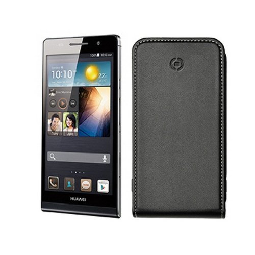 Celly Face Negru Flip Tasche für Huawei Ascend P6