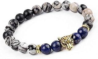 Leopard Head Lava Stone Onyx Bead Buddha Bracelet For Men and Women