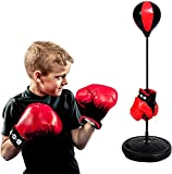 Hancend Boxsack für Erwachsene, Punchingball Boxen Set Kinder Boxstand,Boxset Standboxsack höhenverstellbar 60-120cm mit Boxhandschuhen und Pumpe zum Training, Boxtraining ● Deutscher Anbieter ●