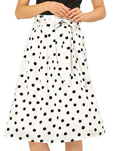 Allegra K Women's Belted Elastic High Waist Vintage A-Line Midi Skirt Large White-Polka Dot