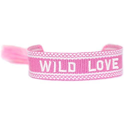 LOVE IBIZA Armband gewebt WILD LOVE pink white