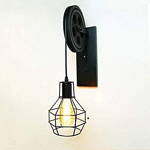 Meixian Wandlamp voor binnen, creatieve katrol met retro loft vintage, hout, zwart, versnelling, nacht gang, veranda, restaurant, bar, cafélicht, eenvoudig retro