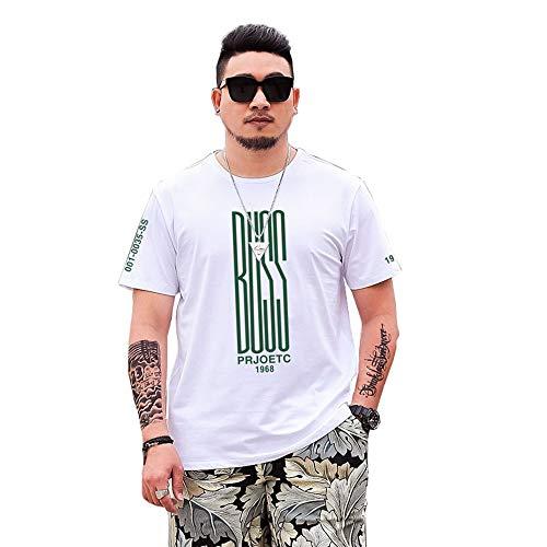 Verano de Secado rápido Algodón Impresa Letra de la Camiseta de los Hombres de más el tamaño de los Deportes Ocasionales de Cuello Redondo de Manga Corta (Color : White, Size : XL)