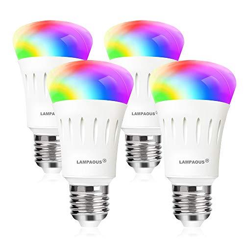 LAMPAOUS E27 Led dimmbar Smart Lampen Glühbirnen 9 Watt WIFI Intelligenz RGBCW Lampen mit 16 Millionen mehreren Farben kompatiable mit Phone,Echo,Alexa,Google Home and IFTTT(Kein Hub) 4er Pack