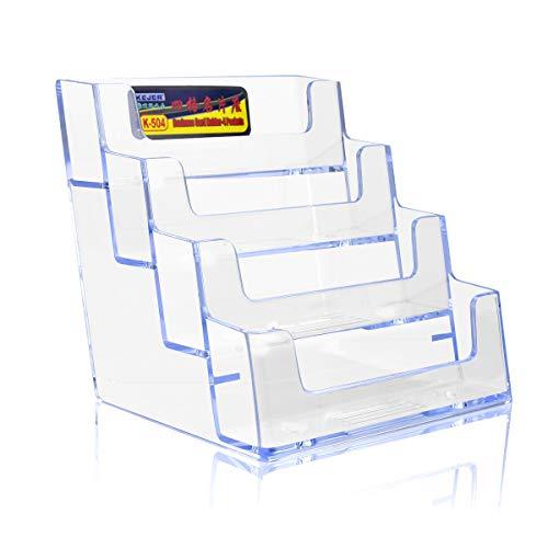 名刺スタンド 2個セット 名刺立て カード立て アクリル 卓上名刺ホルダー メンズ レディース兼用 オフィス 事務所用品 受付 展示会 店舗 名刺 ディスプレイ (1列4段)