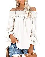 SAIKESIGIRL Womens Off The Shoulder Long Sleeve Chiffon Blouses Flowy Ruffle Tunic Tops (Small, White)