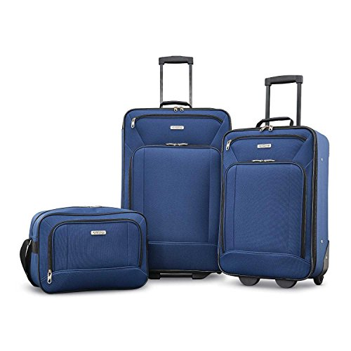 American Tourister Fieldbrook XLT Softside Upright Luggage, Navy, 3-Piece Set (BB/21/25)