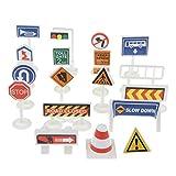 yotijar Juego de señales de tráfico de juguete cogitivo Pretend Play Traffic Vehicles Car Playset - #G