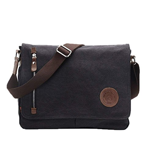 Laptop Bag 14 inch Mens Vintage Casual Fashion Canvas Messenger Bags Briefcase Crossbody Single Shoulder Bag ipad Bag Book Bag Satchel School Bag, 36.8 x 7.6 x 29 cm, Black