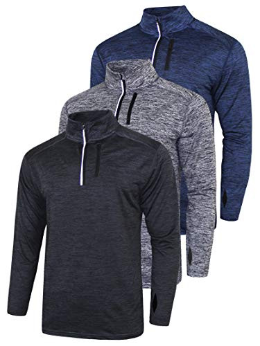 3 Pack Men's Long Sleeve Active Quarter Zip Quick Dry Pullover - Athletic Running Cycling Gym Top Shirts Bulk (Edition 1, Medium)