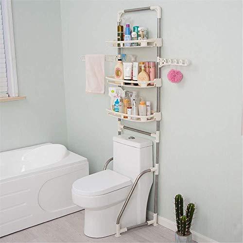 LHQ-HQ Organizador de ducha de 3 capas organizador de baño sobre el inodoro independiente multifuncional ahorro de espacio de baño con barra de ropa para cocina y baño