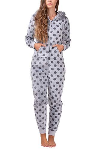 maluuna - Damen Fleece-Onesie mit Bündchen an Arm- und Beinabschluss, extrem kuscheliger Damen Jumpsuit, Overall mit Fell, Einteiler, Homewear, Farbe:grau, Größe:40/42 - 2
