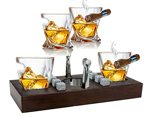 Bezrat Old Fashioned Cigar Whiskey Glasses With Mounted Cigar Rest Gift Set - Cigar Cutter, Ashtray, Chilling Stones & accessories on Wooden Tray – Cigarette Smoking Ash Tray Granite Rocks (Mahogany)