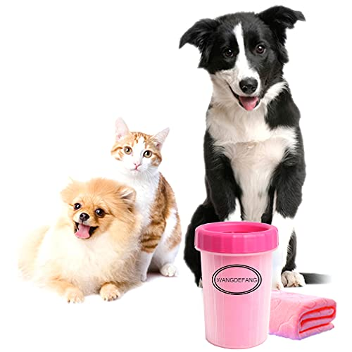 Portable Dog Paw Cleaner for Small Dog Cat , WANGDEFANG Dog Paw Washer Cup with Towel, Dirty Paws...