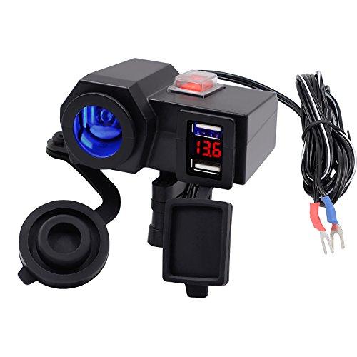 Kriogor Wasserdichte Motorrad Auto Zigarettenanzünder + 5V/2.1A Dual USB Steckdose +12V LED Volmeter Switch Control Lenkerklemme Power Adapter Ladegerät mit 1.5m USB Ladekabel