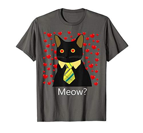 Black Business Cat Kitten with Yellow Tie Hearts Tee Tshirt