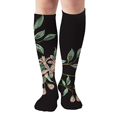 Embroidery Trend Floral Branch Tropical Beauty Fashion Nature Compression Socks Women & Men - Best For Running,Medical,Athletic Sports,Flight Travel, Pregnancy,19.68 Inch