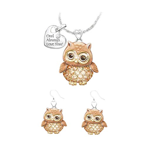 Holibanna Conjunto de 3 peças de brincos de coruja em forma de orelha, pingente de pescoço para mulheres, joia para casamento, Dia dos Namorados, presente de aniversário